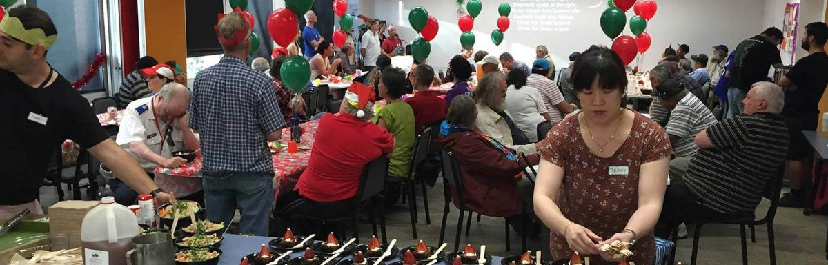 A room of people at a Christmas party